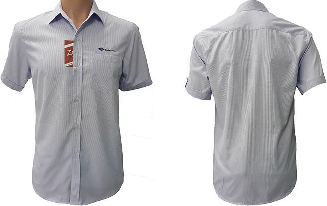 Mẫu áo sơ mi đồng phục Đại Hàn Vina - mẫu màu xanh.