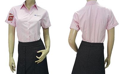 Áo sơ mi đồng phục của DAIHAN VINA mẫu màu hồng.