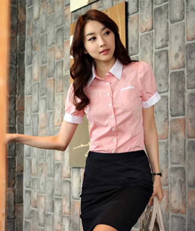 Đồng phục sơ mi tay ngắn phong cách Hàn Quốc.