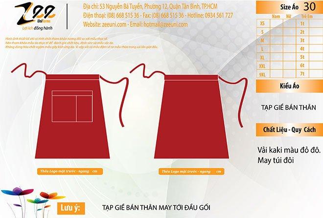 Mẫu thiết kế tạp dề cho nhà hàng Mong Kok.