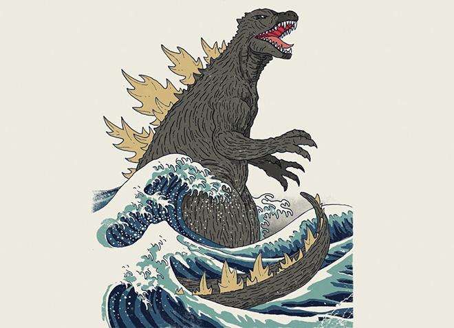 10 mẫu thiết kế áo thun đẹp nhất của Threadless - The Great Monster Off Kanagawa - Hình 1