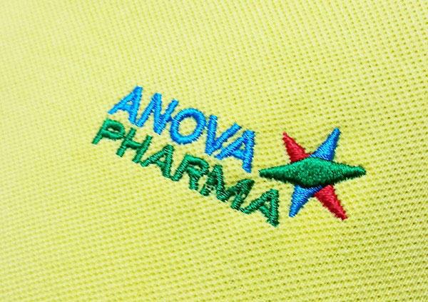 Thêu áo đồng phục tại Bình Dương logo Anova.