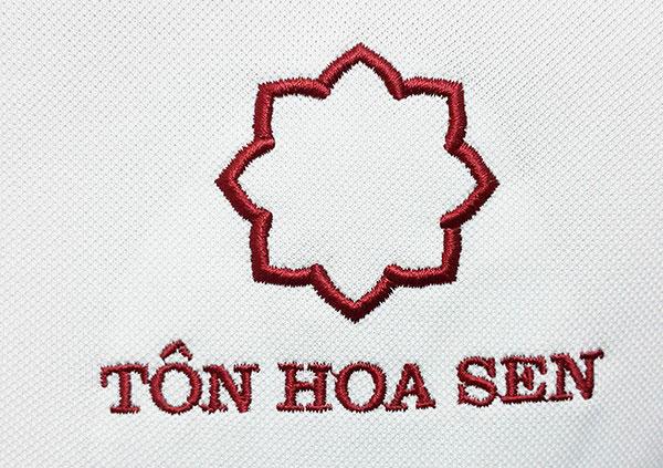 Thêu áo đồng phục tại Bình Dương logo Tôn Hoa Sen.