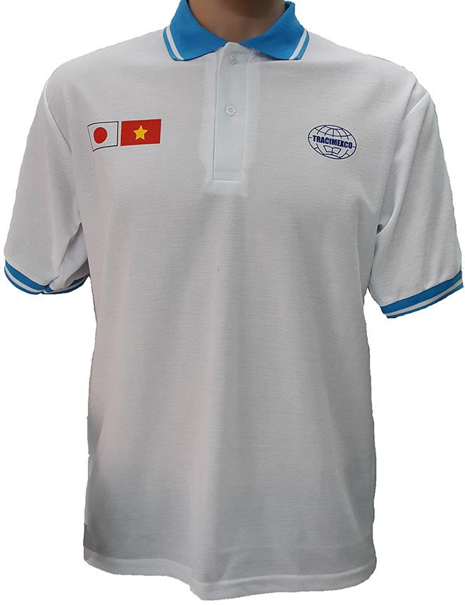 Áo đồng phục xuất khẩu lao động Tracimexco thiết kế bằng thun cá sấu PE co giãn 2 chiều màu trắng tinh, thiết kế áo cổ trụ tay bo mày xanh ya, áo in lụa. - hình 1