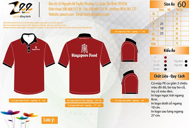 Mẫu thiết kế áo thun đồng phục của Singapore Food